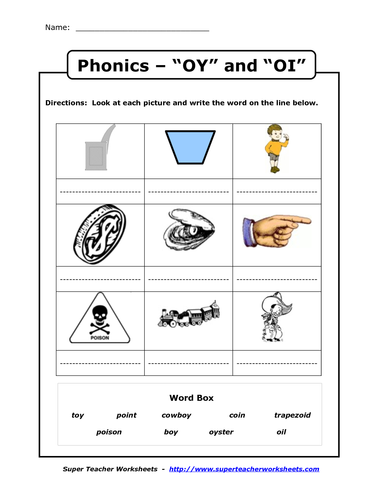 Oy And Oi Phonics Worksheets With Images