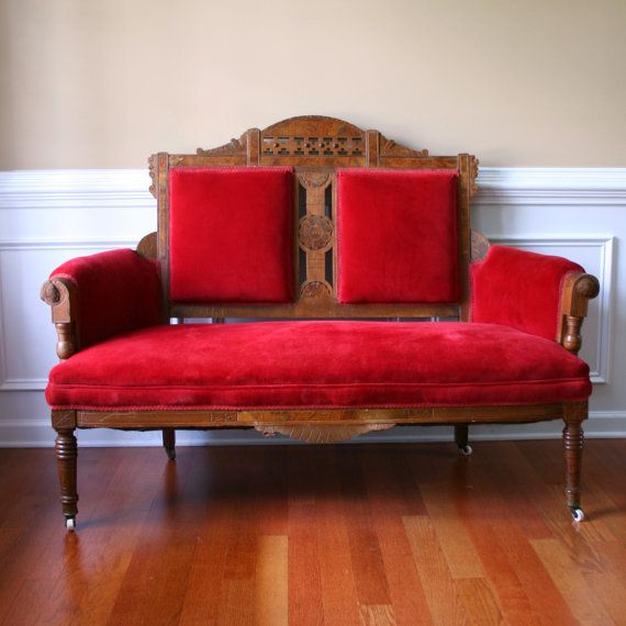 Vintage Eastlake Sofa Antique Settee Love Seat Red Couch Etsy Vintage Sofa Small Red Sofa Antique Sofa
