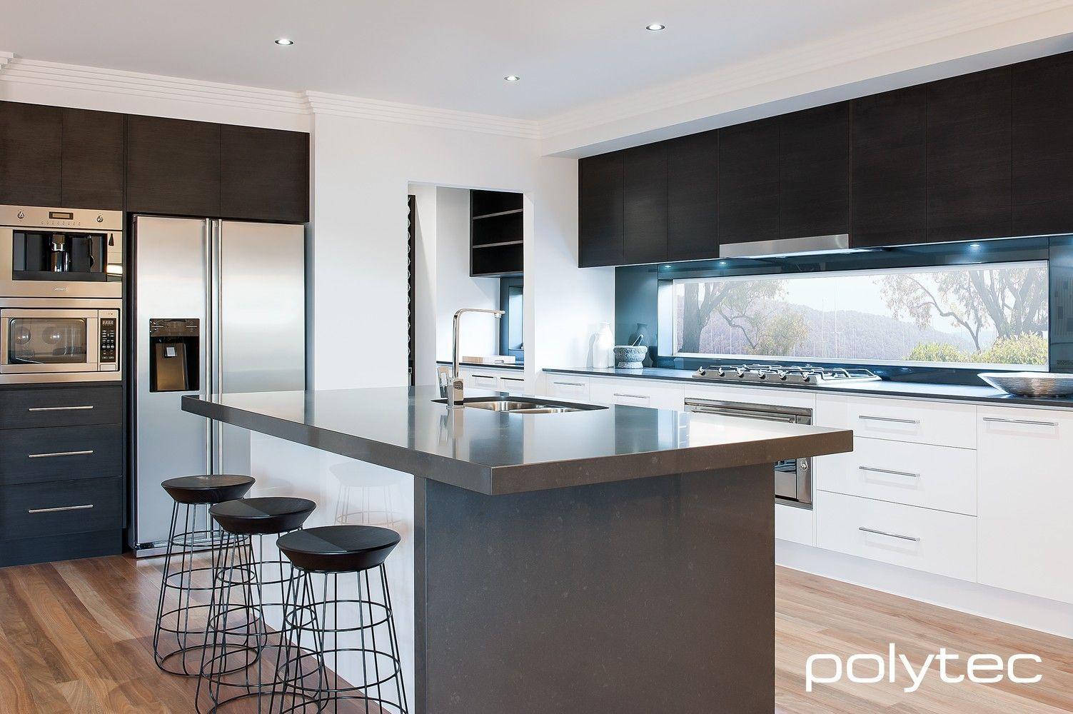 Wenge Wood Kitchen Cabinets Doors In Createc Alabaster Overhead Cupboards In Ravine Black