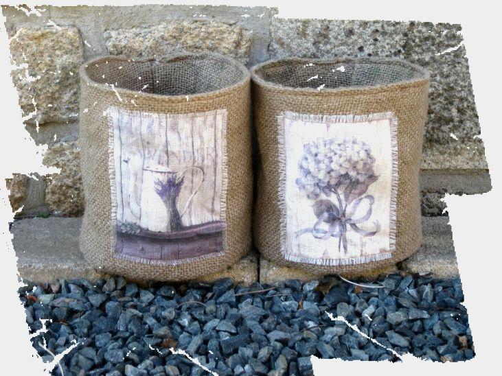 caches pots en toile de jute pleasant home d co et accessoires tins and pots too jute tin. Black Bedroom Furniture Sets. Home Design Ideas