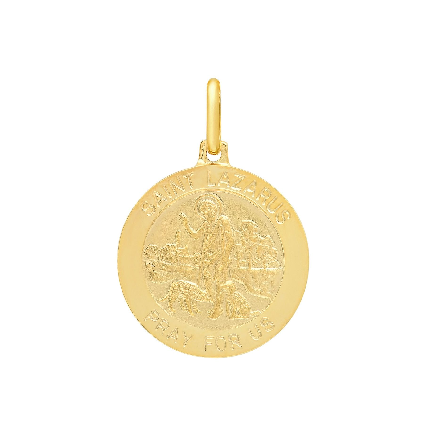 Sterling Essentials Italian 14K Gold 18 mm St. Lazarus Medal Pendant (14K Yellow Gold), Women's