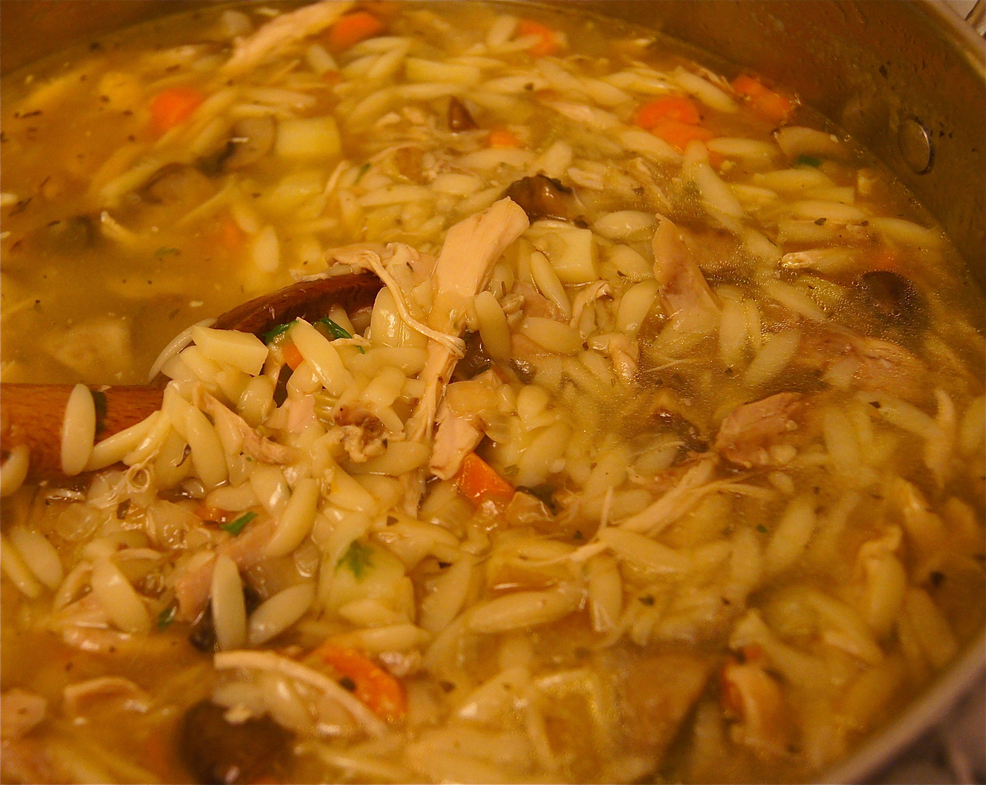 Can't wait to share this with friends.  Chicken orzo soup with crimini mushrooms.  I made the stock with smoked chicken bones to add dimension to the soup.
