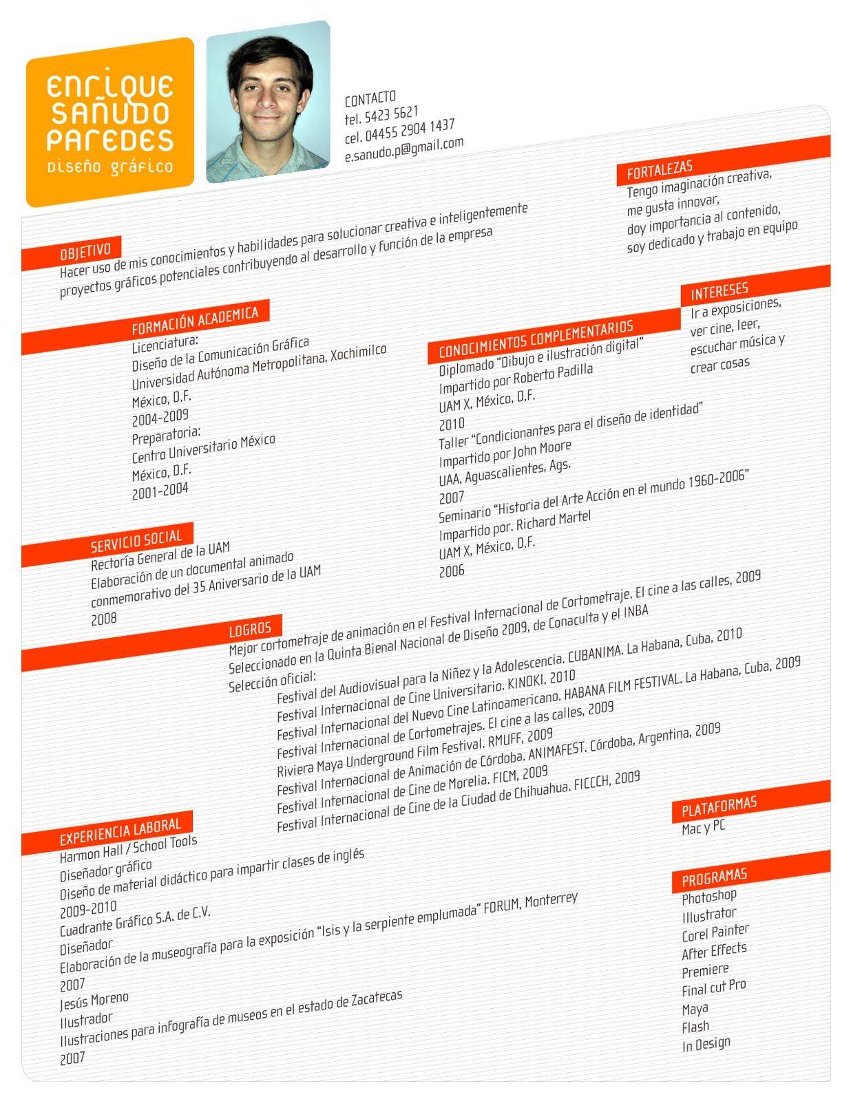 Creative Curriculum Vitae #CV | Professional Help | Pinterest ...