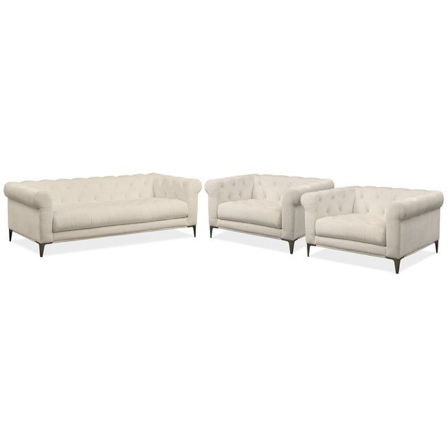 Living Room Furniture David Sofa And Two Cuddler Chairs Set Ivory