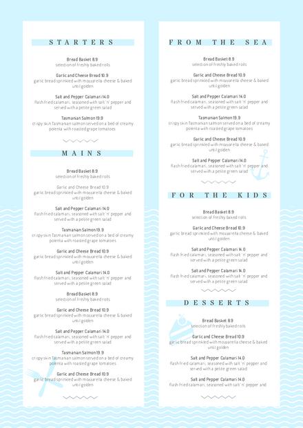 Light Blue Menu Template With Wavy Line Feature Easil Blue Menu Menu Template Restaurant Menu Template