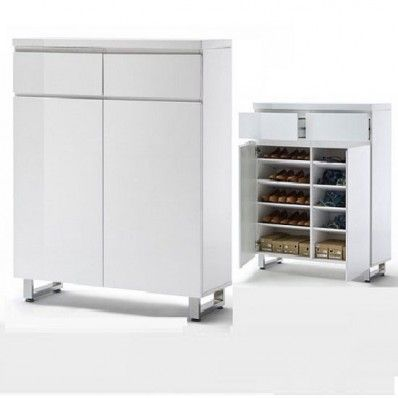 Sydney White High Gloss Shoe Cabinet With Shelves And Drawers ...