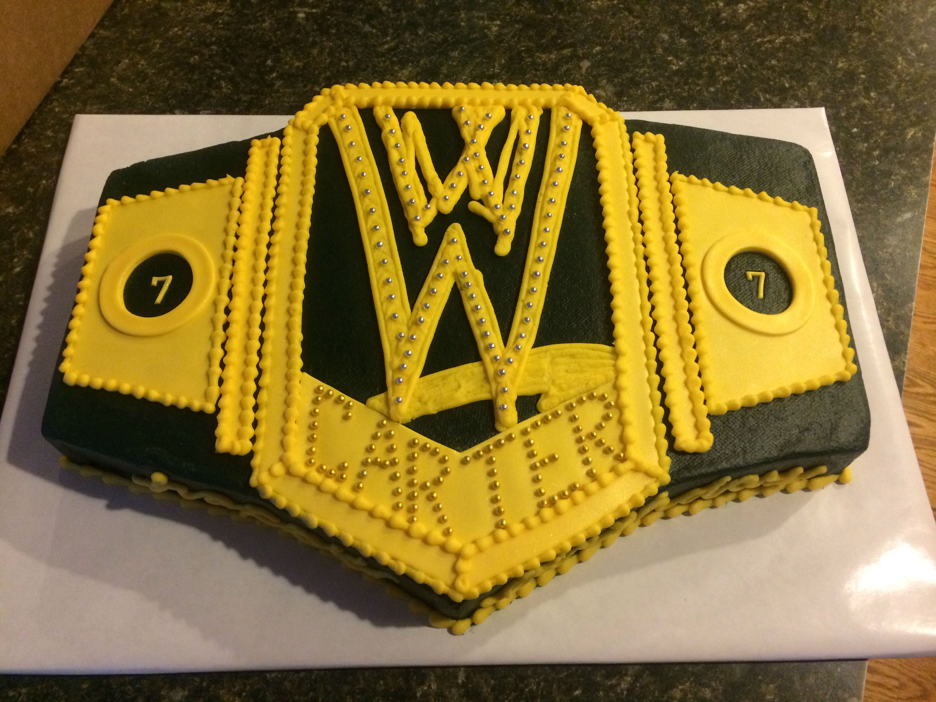 Wwe Belt Birthday Cake Wwe Birthday Party Wrestling