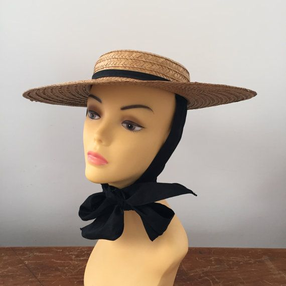 Vintage Wide Brim Straw Hat with Attached Scarf - Kentucky Derby Hat -  Garden Party Hat - Sun Hat - Starlet Hat 09e6ad18e60