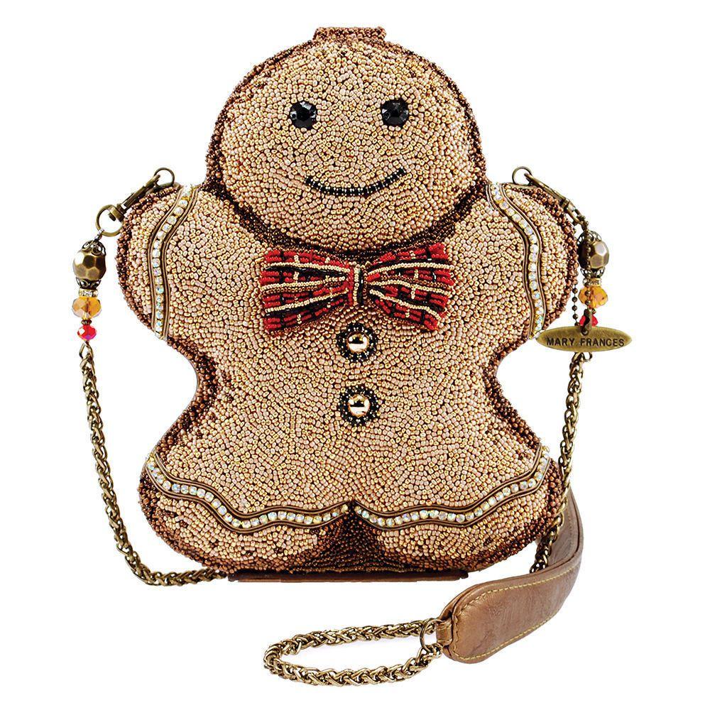 Mary Frances Gingerbread Man Beaded Jeweled Christmas Holiday Shoulder Handbag Ebay