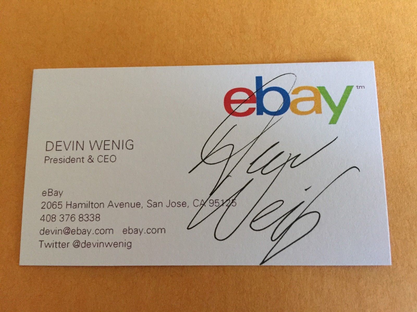 Devin Wenig Autograph Ebay President Ceo Business Card Signed