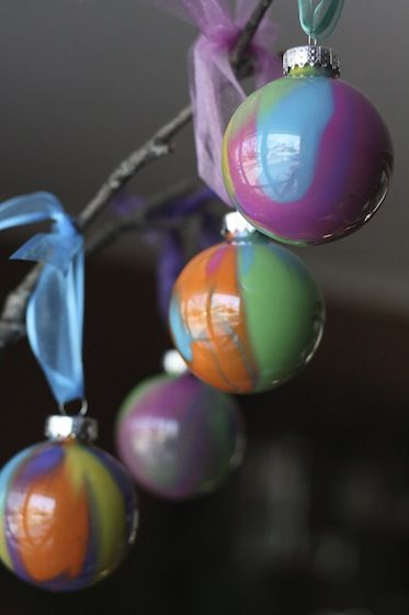 pour-painted Christmas tree ornaments