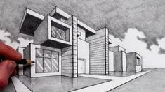 How to Draw in 2-Point Perspective: Modern House