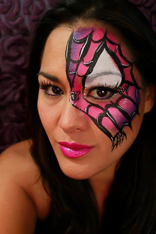 Quick Spider Girl Mask Face Paint Tutorial Playlist Girl Face Painting Spider Face Painting Mask Face Paint