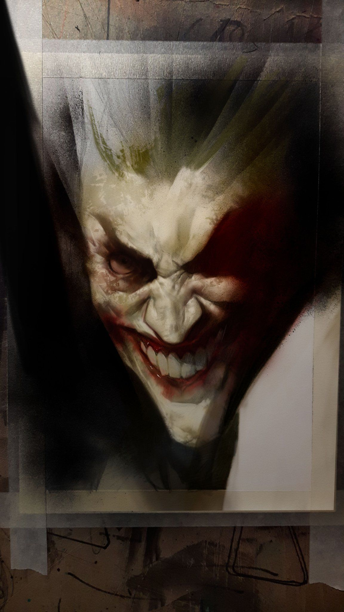 Joker pencil and ink sketch with digital colour batman joker