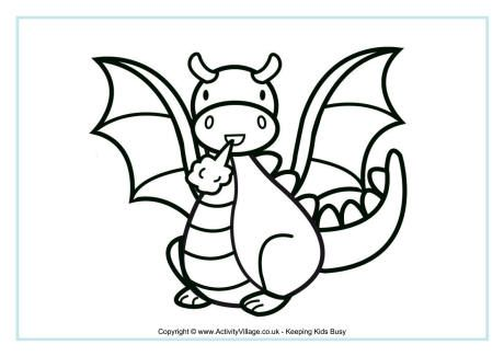 Dragon colouring page 3  Crafts  Pinterest  Coloring Search