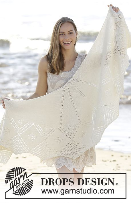 Almera Knitted Shawl With Garter Stitch And Lace Pattern In Drops