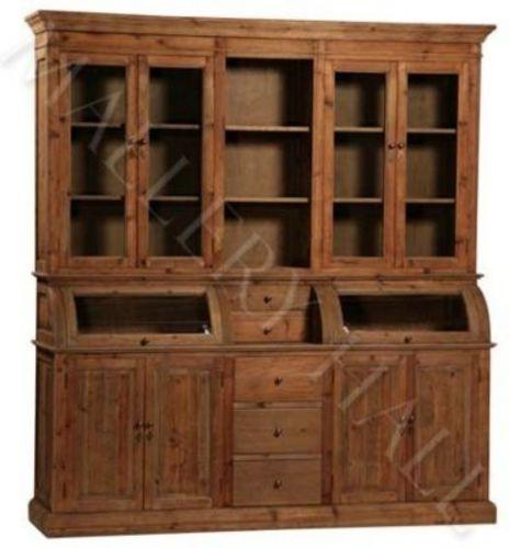 French Reclaimed Solid Mahogany China Cabinet Kitchen Hutch Natural Finish $4,100.00