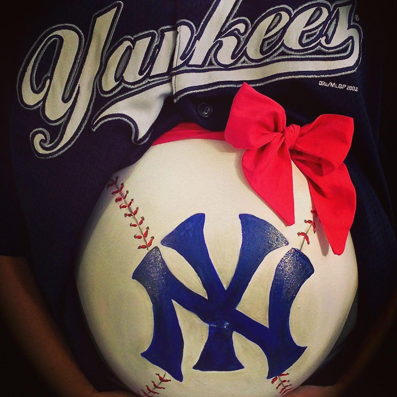 New York Yankees Bedroom Decor Baby Bump Belly Painting By Melissa Feyerisen Makeup Artist New