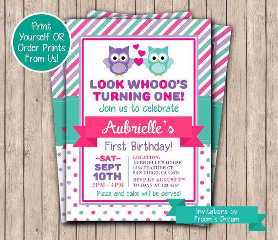 Owl birthday invitation printable first birthday invite pink owl owl birthday invitation printable first birthday invite pink owl birthday owl themed party filmwisefo