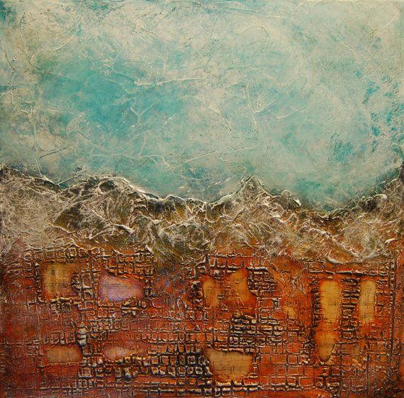Original Abstract Painting Mixed Media  Colorful by andrada
