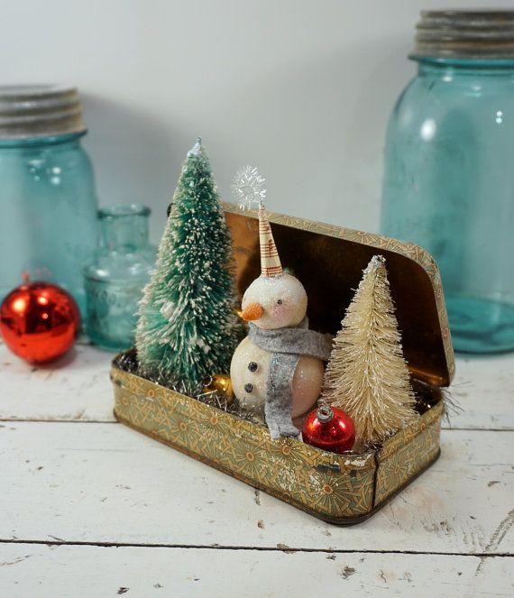 Christmas Decoration   Snowman   Folk Art   Vintage Style