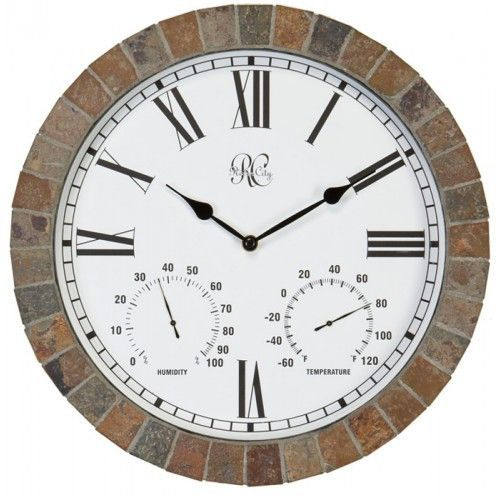 """River City Clocks 15"""" Indoor/Outdoor Tile Clock With Time, Temperature, And Humidity"""