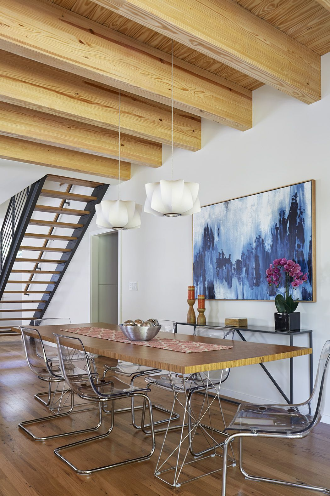 Exposed Glulam Beams Over The Kitchen And Dining Areas Are A Focal Point Signaling This As The Heart Of Sustainable Home House In Nature Build Your Dream Home