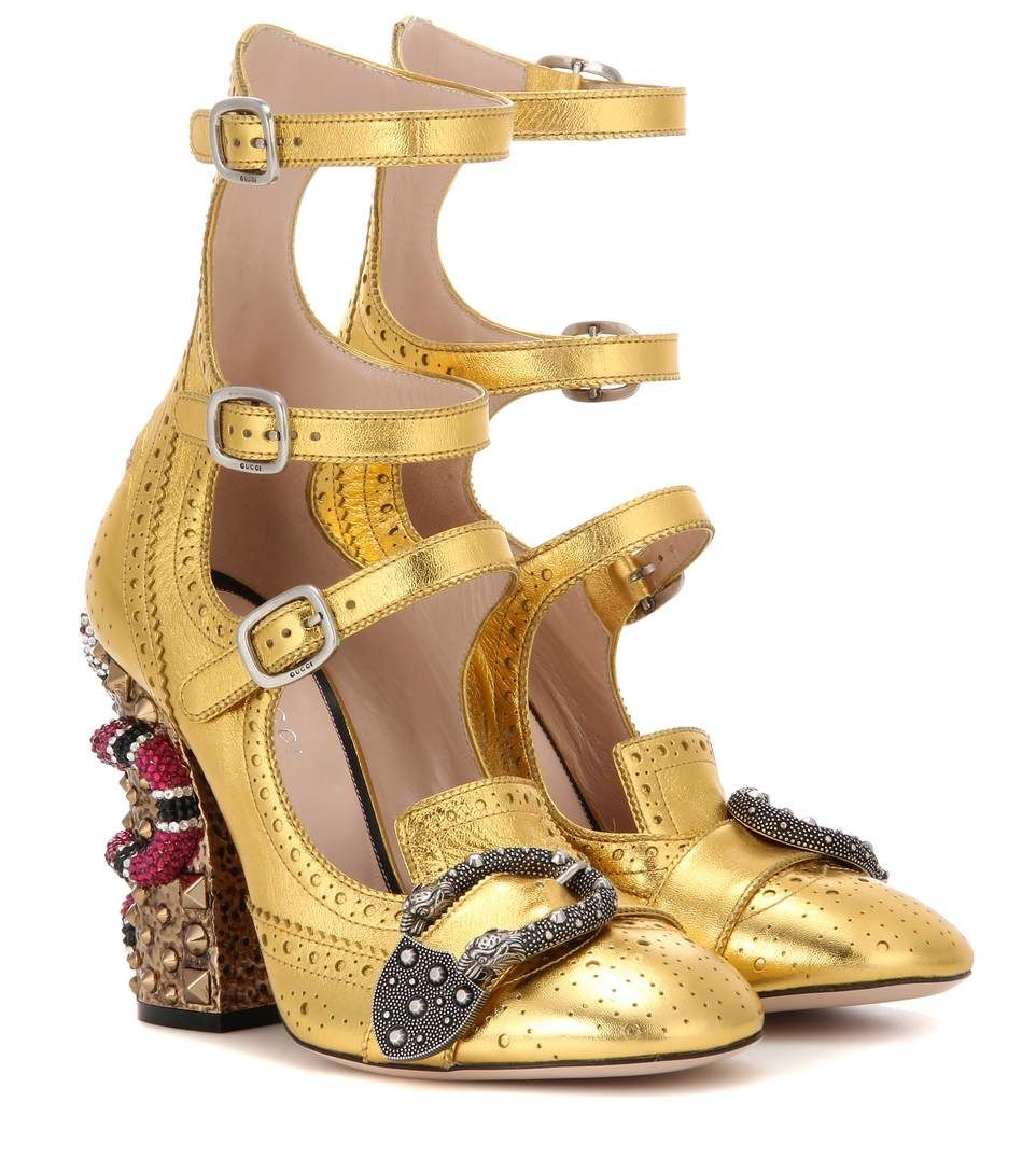 ec6116a19f2 Queercore embellished gold leather ankle boots