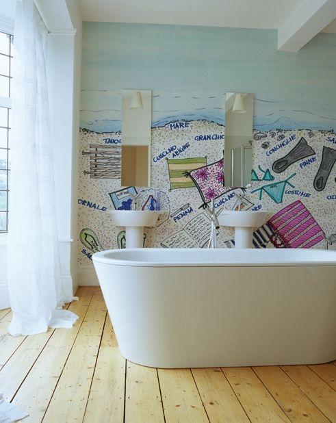 Pin Auf Badezimmer Renovieren Mit Tapete Statt Fliesen