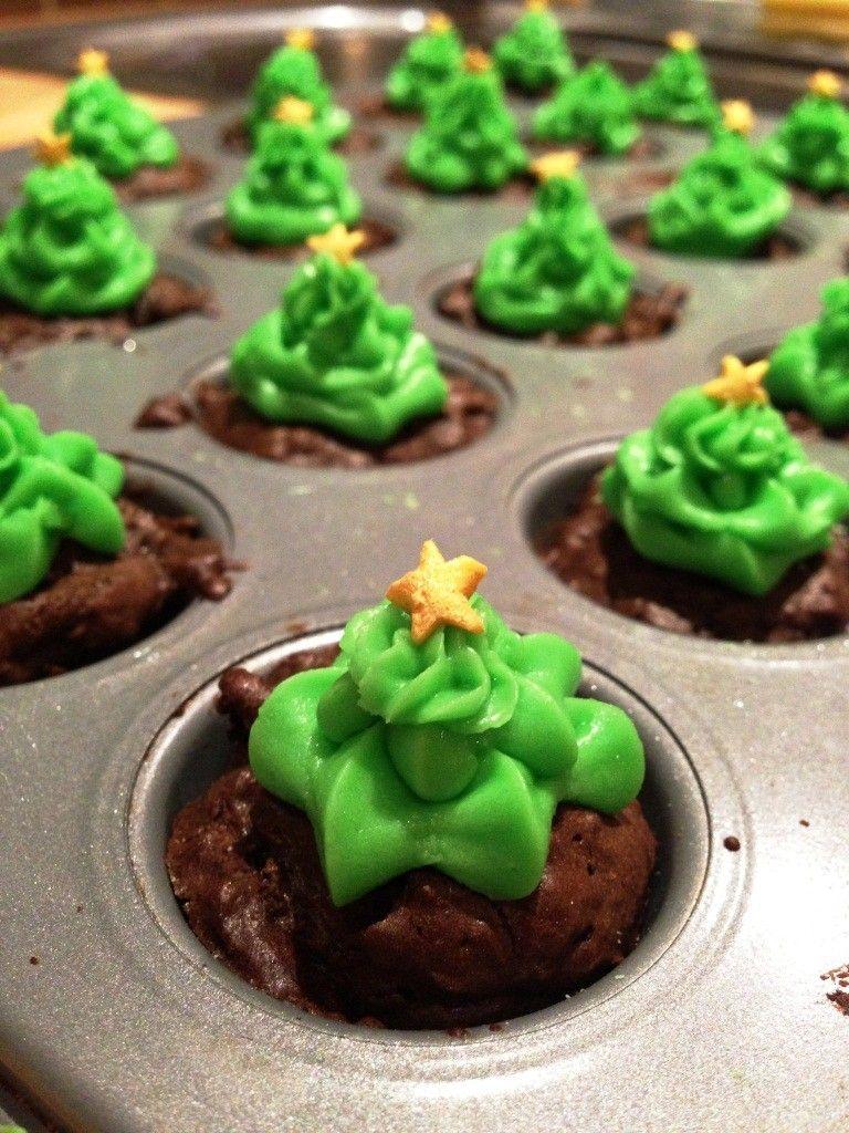 Chocolate Brownie Christmas Trees Recetas navideñas