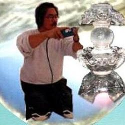 Ross demonstrating live ice carving of japanese ice lantern.