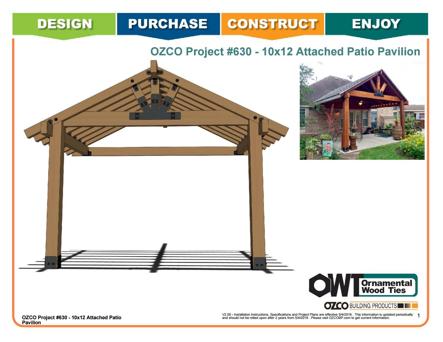 Ozco Project 630 10x12 Attached Patio Pavilion Backyard Pavilion Pergola Patio Pergola