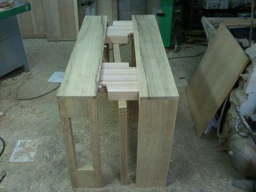 Fabrication D Une Console Extensible Allonges Integrees Console Extensible Table Console Extensible Tables En Palettes De Bois