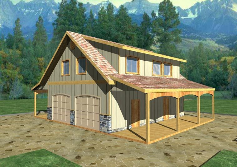 Country Style 4 Car Garage Apartment Plan Number 85207 with 2 Bed, 1 ...