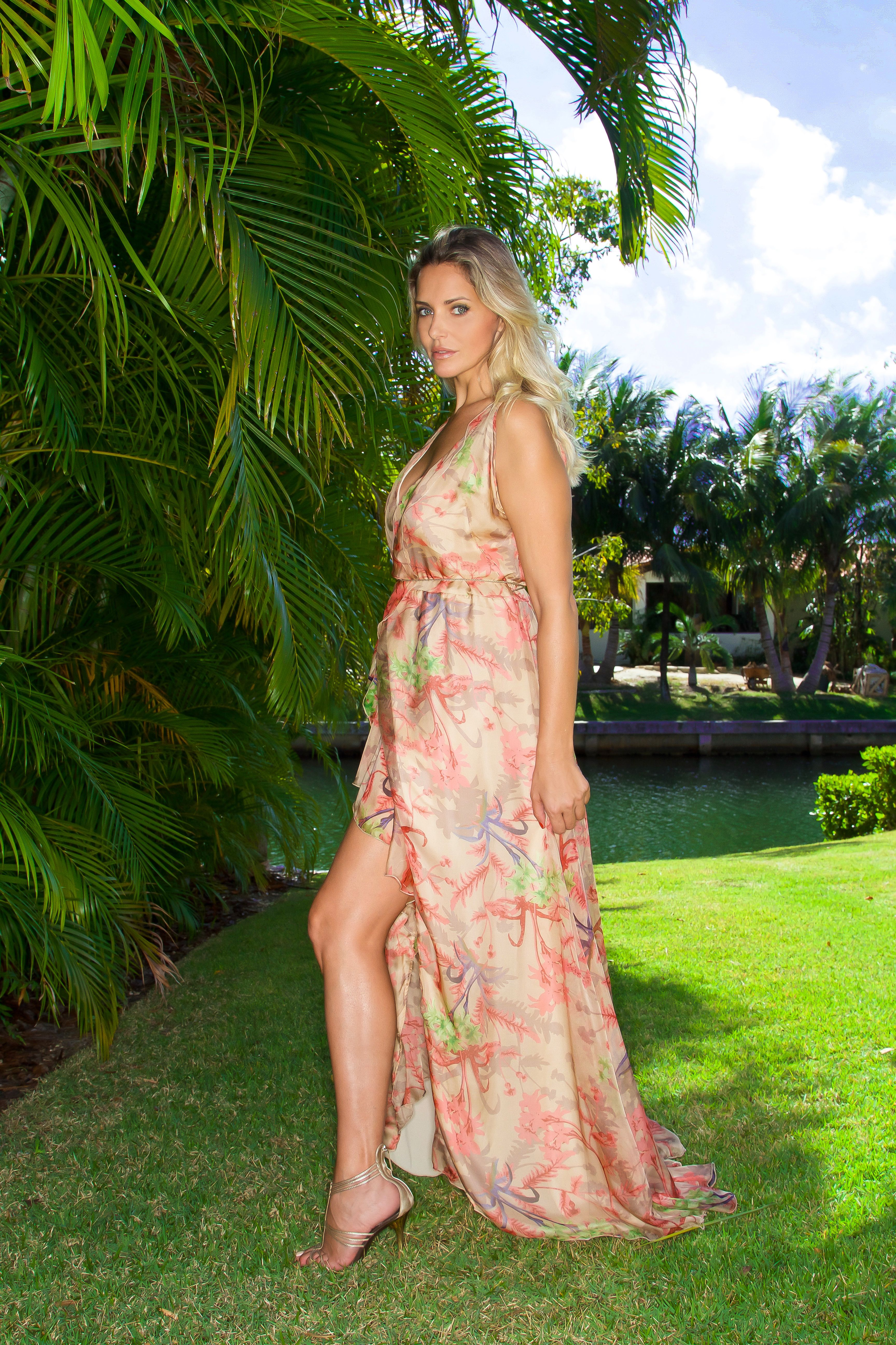 Dress Flamenco style in pure silk designed by Daniela Poggi #boholuxe #chic #oneofakind