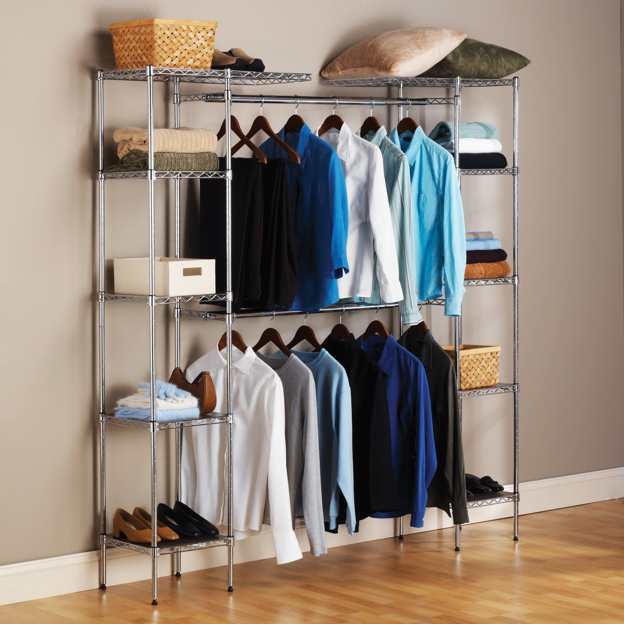 closet honey com rod can freestanding walmart black ip silver do double system