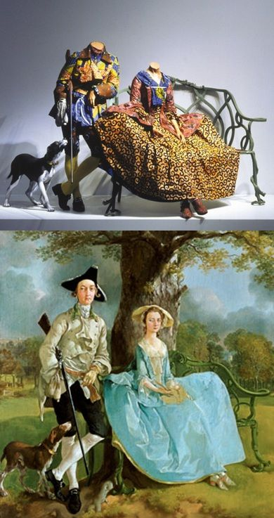 'Mr & Mrs Andrews'  Yinka Shonibare 1998 Thomas Gainsborough c1750
