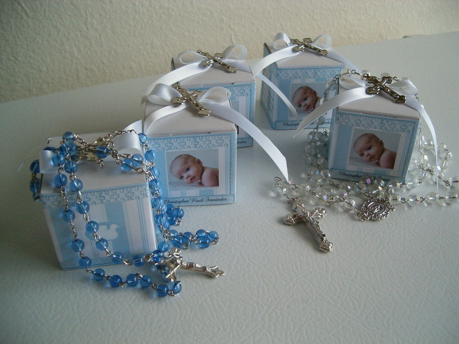 10 Baptism Rosary Favor Boxes Personalized Baptism