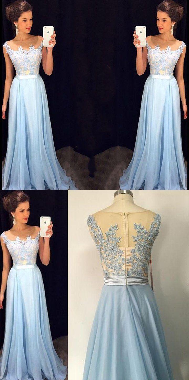 Charming lace chiffon blue cheap long v neck formal pretty elegant