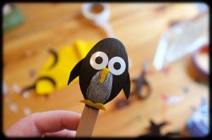 Penguins on a stick - made of wooden spoons.