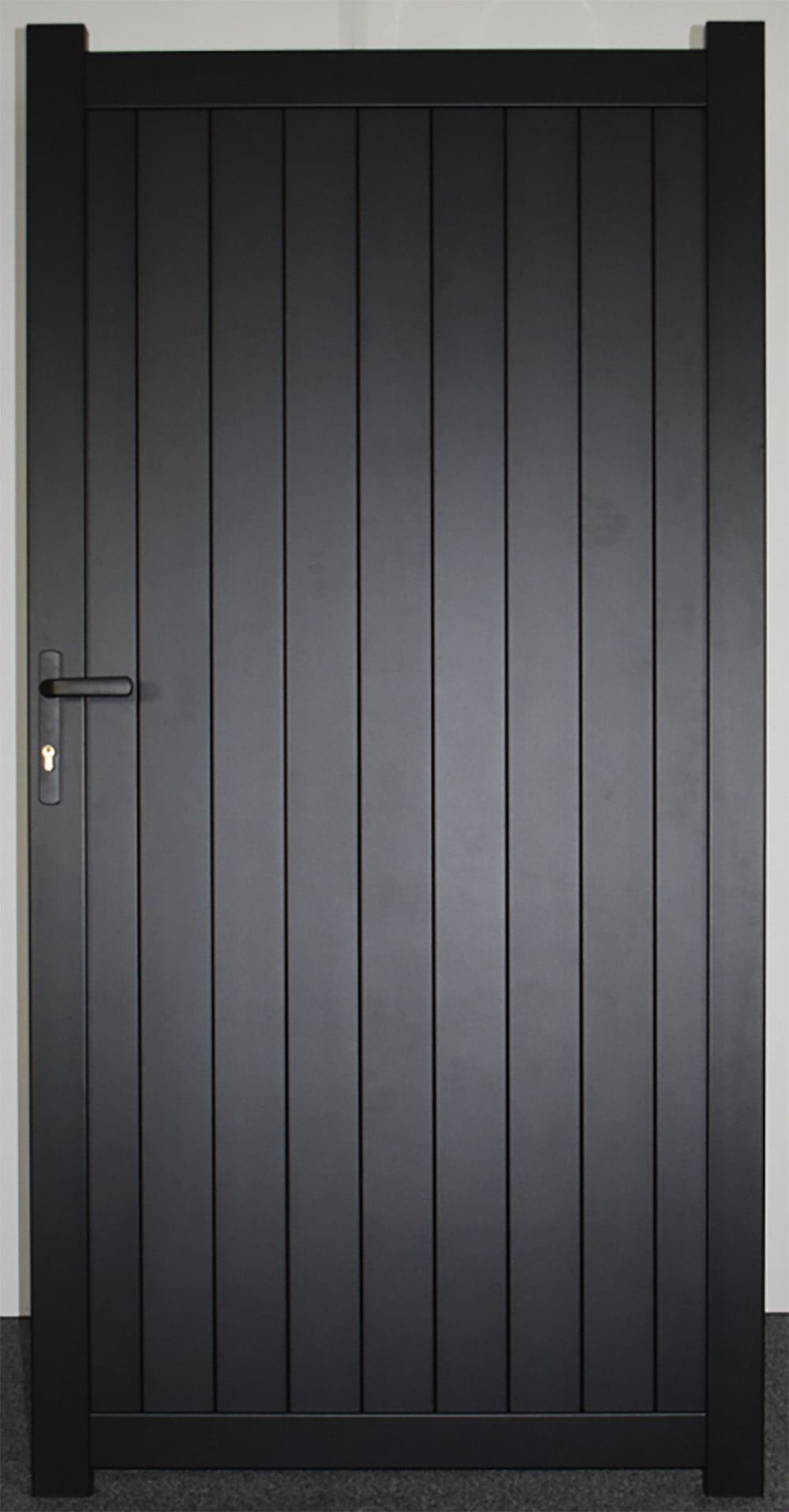 Pedestrian Side Gate With Vertical Solid Infill Flat Top Black 1000 In 2020 Side Gates Modern Gate Metal Garden Gates