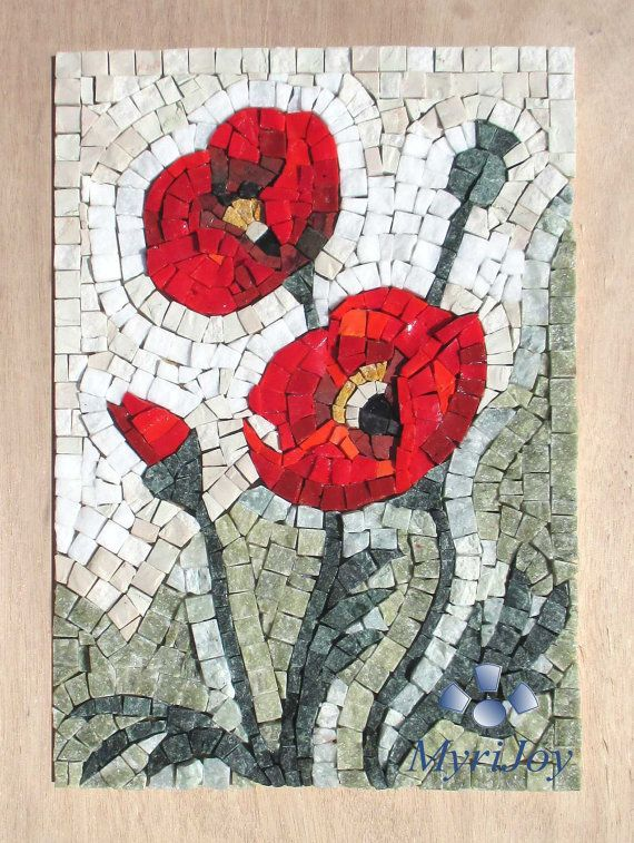 Mosaic kit DIY Poppies Stained glass mosaic tiles - Mosaics wall art ...