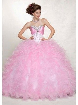 c9414cc377e Light pink ruffled quinceanera dress.