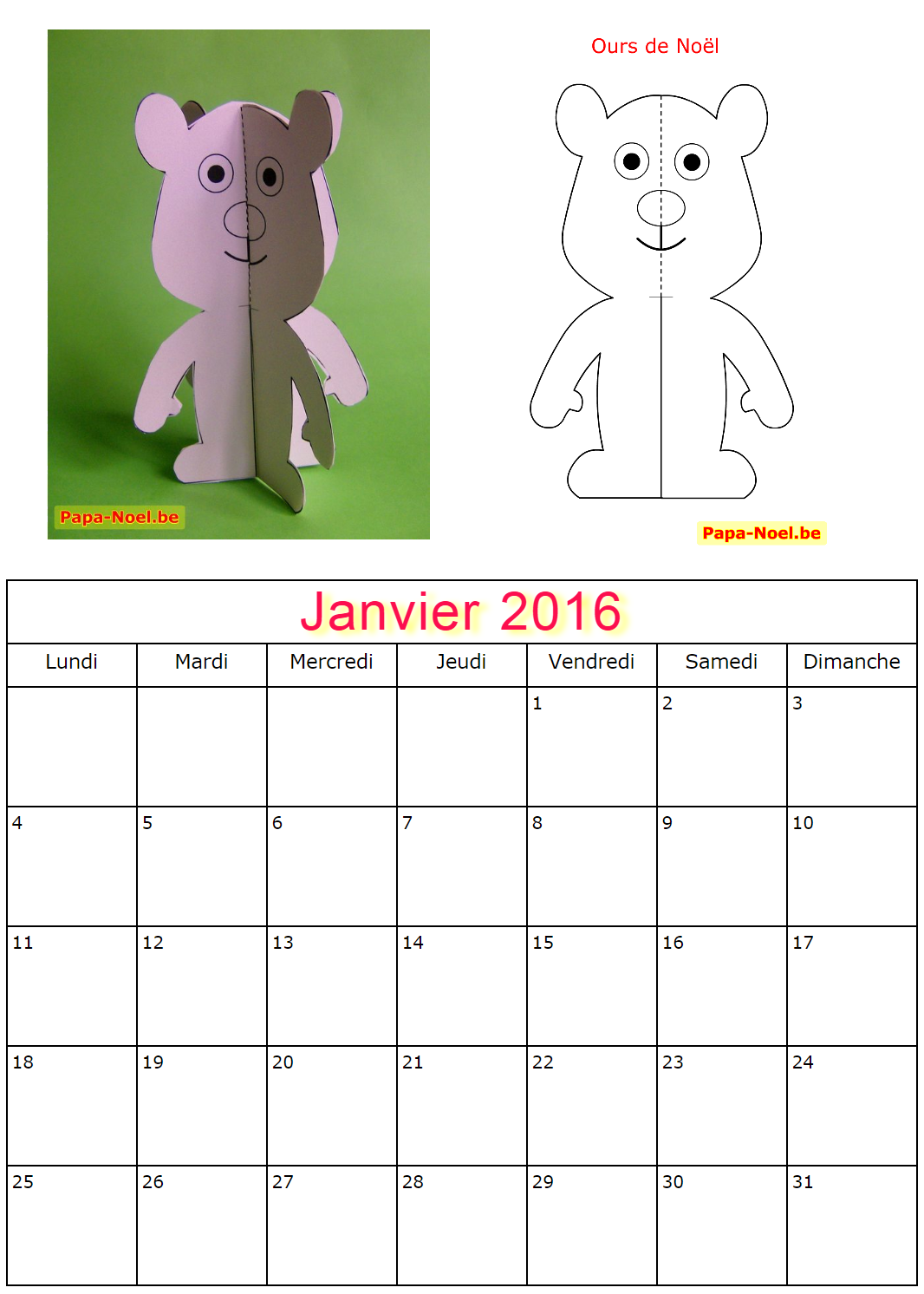 calendrier janvier 2016 imprimer gratuit calendriers. Black Bedroom Furniture Sets. Home Design Ideas