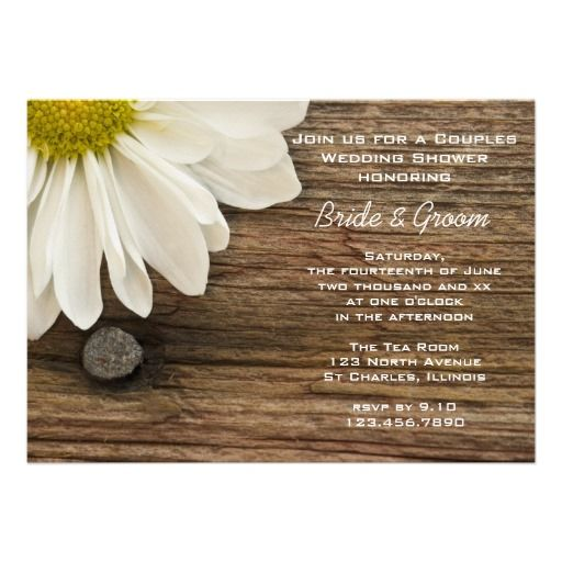 Daisy and Barn Wood Country Couples Wedding Shower Personalized Announcement from Zazzle.com