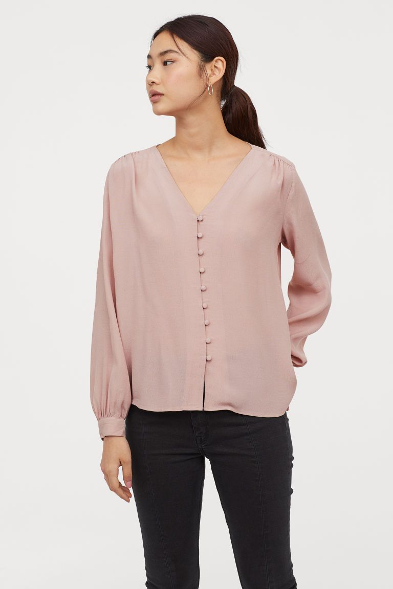 645cd5bb H&M V-neck Blouse - Pink in 2019 | Business Outfits | Blouse, Shirt ...