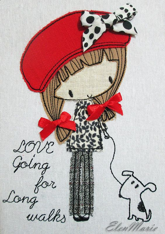 Girl with dog Applique Machine Embroidery Design, Applique Girl,  Embroidery Design Love walk 5*7, 6*8, 6*10