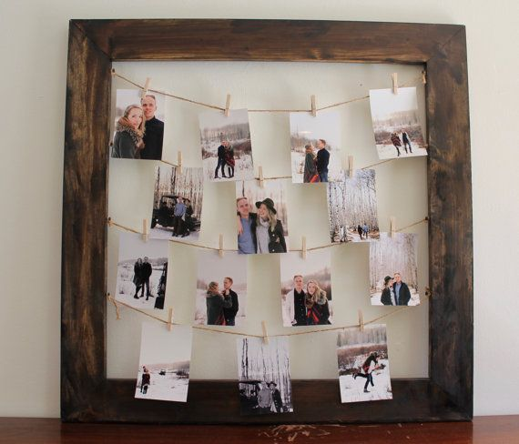 Rustic Clothespin Picture Frame X2f Photo Display By Thebearries Wedding Photo Display Clothespin Picture Frames Framed Photo Collage