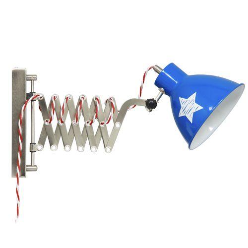Applique murale enfant accordéon en métal bleu étoile blanche Lief ...
