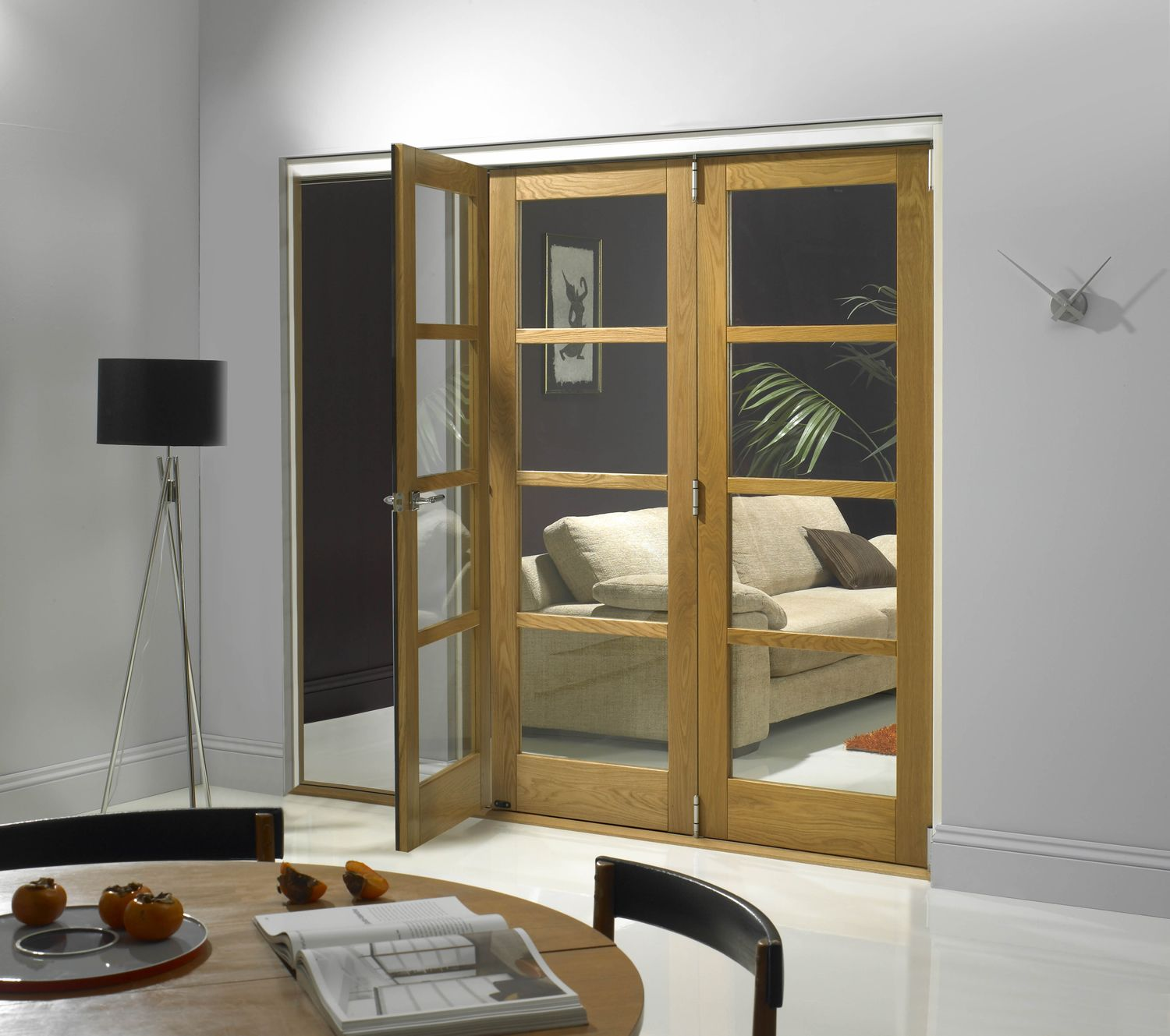 Eyecatching sliding room dividers clear glass wooden frames for
